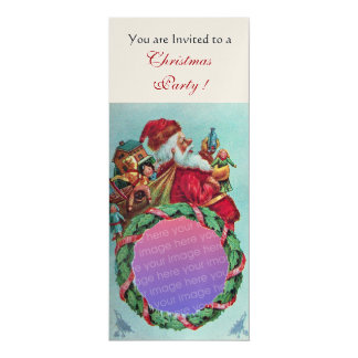 FUNNY, HUMOROUS SANTA CLAUS VINTAGE Photo Template 4x9.25 Paper Invitation Card