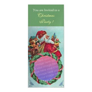 FUNNY,HUMOROUS SANTA VINTAGE Photo Template Gold 4x9.25 Paper Invitation Card