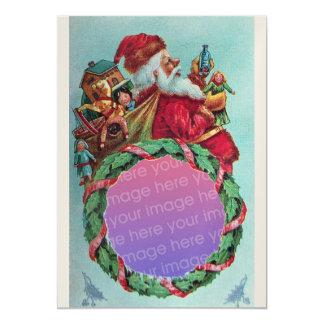 FUNNY,HUMOROUS SANTA VINTAGE Photo Template Gold 5x7 Paper Invitation Card