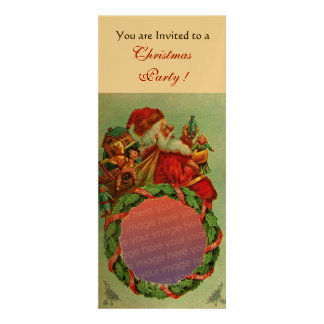 FUNNY,HUMOROUS SANTA VINTAGE Photo Template Gold Personalized Announcement