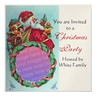 FUNNY,HUMOROUS SANTA VINTAGE Photo Template Gold 5.25x5.25 Square Paper Invitation Card