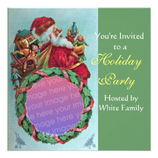 FUNNY,HUMOROUS SANTA VINTAGE Photo Template green Personalized Announcements