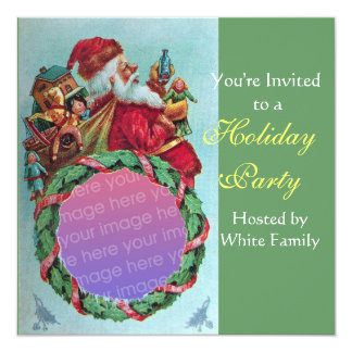 FUNNY,HUMOROUS SANTA VINTAGE Photo Template green 5.25x5.25 Square Paper Invitation Card