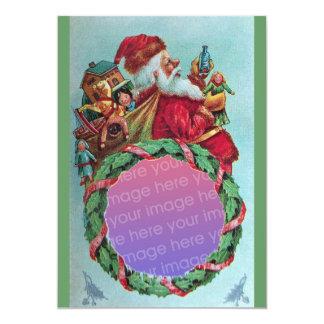 FUNNY,HUMOROUS SANTA VINTAGE Photo Template Green 5x7 Paper Invitation Card