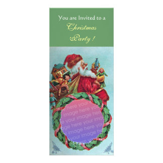 FUNNY,HUMOROUS SANTA VINTAGE Photo Template Green Personalized Announcement