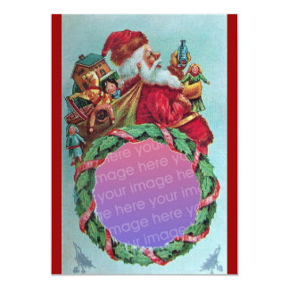 FUNNY,HUMOROUS SANTA VINTAGE Photo Template Red 5x7 Paper Invitation Card