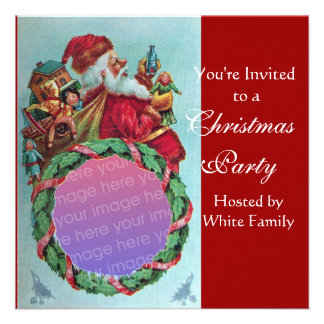 FUNNY,HUMOROUS SANTA VINTAGE Photo Template red Custom Announcements