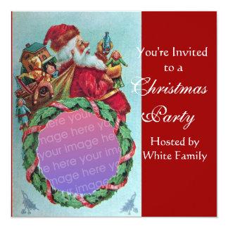 FUNNY,HUMOROUS SANTA VINTAGE Photo Template red 5.25x5.25 Square Paper Invitation Card