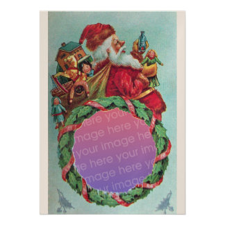 FUNNY,HUMOROUS SANTA VINTAGE Photo Template White Personalized Announcement