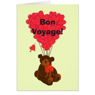 Funny humorous teddy bear romantic bon voyage card
