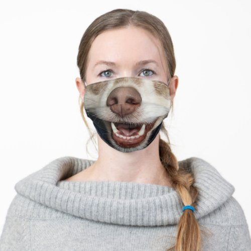 funny humour animal lover puppy dog smile cloth face mask
