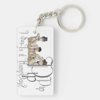 Funny Hump Day Camels  in Monocles Double-Sided Rectangular Acrylic Keychain