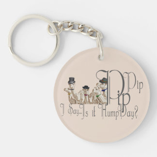 Funny Hump Day Camels  in Monocles Double-Sided Round Acrylic Keychain