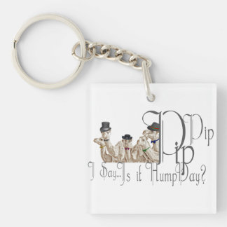 Funny Hump Day Camels  in Monocles Double-Sided Square Acrylic Keychain
