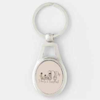 Funny Hump Day Camels  in Monocles Silver-Colored Oval Metal Keychain