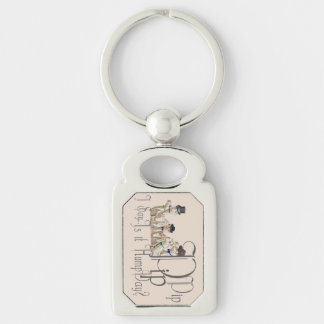 Funny Hump Day Camels  in Monocles Silver-Colored Rectangular Metal Keychain