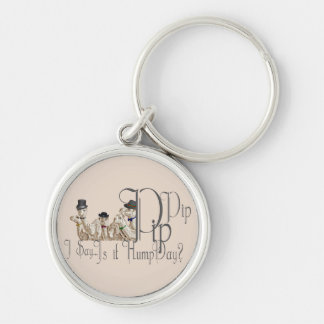 Funny Hump Day Camels  in Monocles Silver-Colored Round Keychain