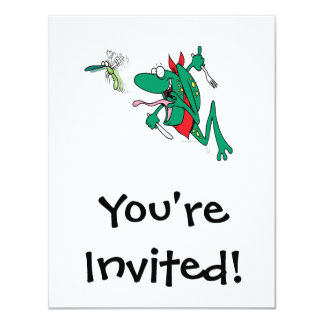 funny hungry frog chasing bug cartoon 4.25x5.5 paper invitation card