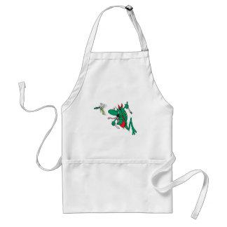 funny hungry frog chasing bug cartoon aprons