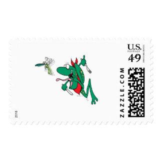 funny hungry frog chasing bug cartoon postage