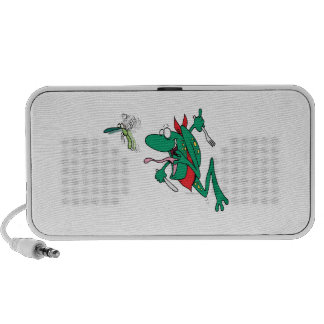 funny hungry frog chasing bug cartoon laptop speaker