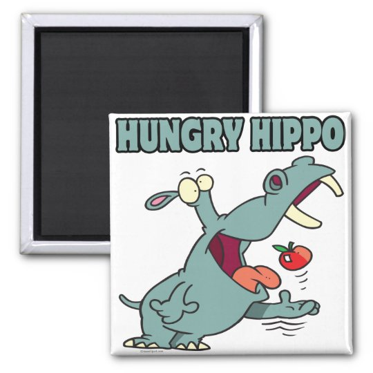 funny hungry hippo cartoon magnet