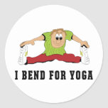 Funny I Bend For Yoga Men's Round Stickers