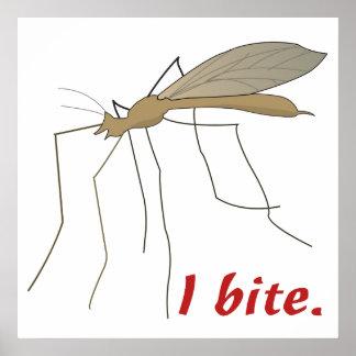 funny i bite mosquito design poster