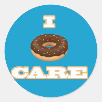 """Funny """"I Doughnut Care"""" Item Classic Round Sticker"""