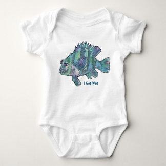 "Funny ""I Get Wet"" Cartoon Blue Fish Infant Baby Bodysuit"
