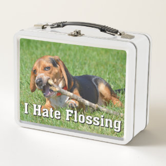 Funny I Hate Flossing Beagle Chewing On A Stick Metal Lunch Box