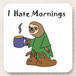 Funny I Hate Mornings Sloth Cartoon Beverage Coaster