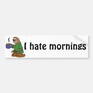 Funny I Hate Mornings Sloth Cartoon Bumper Sticker
