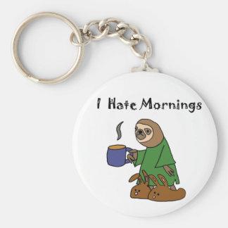 Funny I Hate Mornings Sloth Cartoon Keychain
