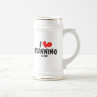 Funny I heart (love) Running SLOW Beer Stein