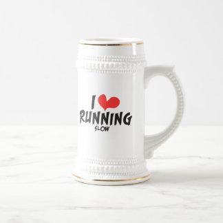 Funny I heart (love) Running SLOW Beer Stein