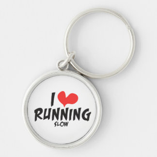 Funny I heart (love) Running SLOW Silver-Colored Round Keychain
