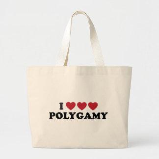 Funny I Heart Polygamy Jumbo Tote Bag