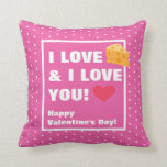 Funny I Love Cheese & I Love You Valentine's Day Throw Pillow
