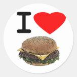 Funny I Love Cheeseburgers Classic Round Sticker