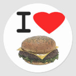 Funny I Love Cheeseburgers Stickers