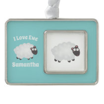 Funny I Love Ewe Cute Fluffy White Sheep Name Christmas Ornament