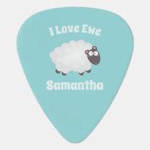 Funny I Love Ewe Cute Fluffy White Sheep Name Guitar Pick