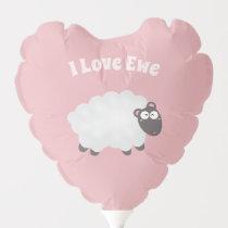 Funny I Love Ewe Cute Fluffy White Sheep Pink Balloon