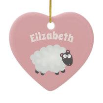 Funny I Love Ewe Cute Fluffy White Sheep Pink Ceramic Ornament