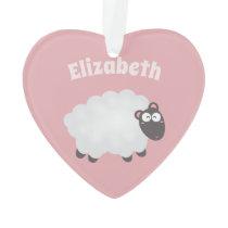 Funny I Love Ewe Cute Fluffy White Sheep Pink Ornament