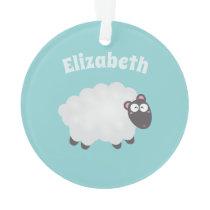 Funny I Love Ewe Cute Fluffy White Sheep Whimsical Ornament
