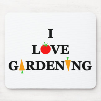 Funny I LOVE GARDENING Tomatoes Carrots Cartoon Mouse Pad