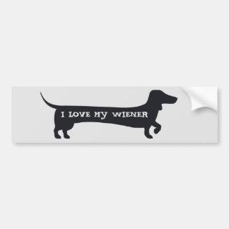 Funny I LOVE MY WIENER dachshund bumpersticker Bumper Sticker