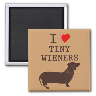 Funny I Love Tiny Wiener Dachshund 2 Inch Square Magnet